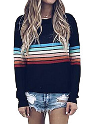 cheap -women& #39;s sweater rainbow colorful striped sweaters long sleeve crew neck color block casual pullover blouse tops black large