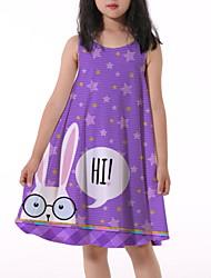 cheap -Kids Little Girls' Dress Rabbit Letter Animal Print Purple Knee-length Sleeveless Flower Active Dresses Summer Regular Fit 5-12 Years