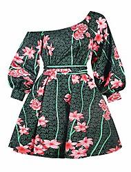 cheap -Women's Loose Midi Dress Yellow Green White Black Red Long Sleeve Pattern Spring & Summer 2021 S M L XL