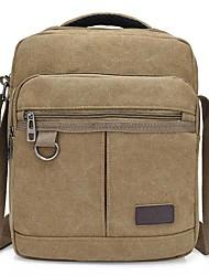 cheap -Men's Bags Canvas Crossbody Bag Zipper Plain Daily 2021 Canvas Bag Handbags Black Army Green Khaki Coffee