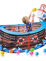 cheap -Kids Play Tent, Pirate Ship Play Tent with Basketball Hoop Foldable Pop Up Play Tent Game Toy Pool Indoor Outdoor Garden Playhouse Game Fence for Toddler Boys Girls