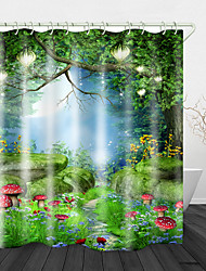 cheap -Red Mushrooms in the Grass Print Waterproof Fabric Shower Curtain for Bathroom Home Decor Covered Bathtub Curtains Liner Includes with Hooks