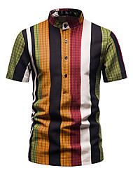cheap -Men's Shirt Other Prints Striped Short Sleeve Daily Tops 100% Cotton Red / White