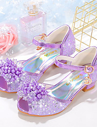 cheap -Girls' Heels Flower Girl Shoes Princess Shoes School Shoes Rubber PU Little Kids(4-7ys) Big Kids(7years +) Daily Party & Evening Walking Shoes Pearl Sparkling Glitter Buckle Purple Blue Pink Fall