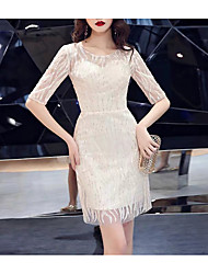 cheap -Sheath / Column Jewel Neck Short / Mini Lace Bridesmaid Dress with Sequin