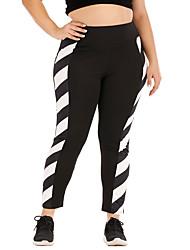 cheap -Women's Plus Size Patchwork Lines / Waves Sporty Yoga Full Length Pants Black