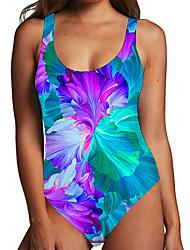 cheap -Women's One Piece Monokini Swimsuit Tummy Control Print Floral Color Block Blue Swimwear Bodysuit Strap Bathing Suits New Fashion Sexy / Padless
