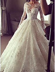 cheap -Princess Ball Gown Wedding Dresses Jewel Neck Floor Length Lace Tulle Long Sleeve Formal Romantic Luxurious with Pleats Appliques 2021