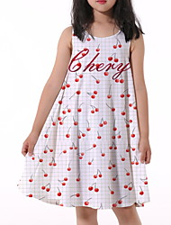 cheap -Kids Little Girls' Dress Cherry Fruit Print White Knee-length Sleeveless Flower Active Dresses Summer Regular Fit 5-12 Years