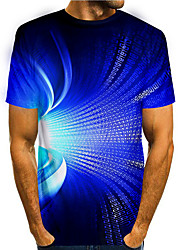 cheap -Men's T shirt 3D Print Graphic 3D 3D Print Short Sleeve Daily Tops Basic Casual Blue