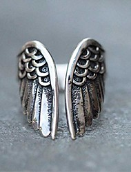 cheap -Duan Antique Stainless Steel Ring Feather Angel Wing Cast Black Vintage Open Cuff Ring Punk Jewelry