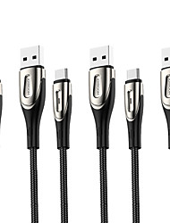 cheap -Joyroom 3 Pack Micro USB / USB C Cable 3A Current 1.2m(4Ft) 3PCS Branded Quick Charge Nylon Cable for Samsung S21 Ultra S20 Plus S10 A12 A32 A52 A72 Huawei OnePlus LG Xiaomi Quick Charger Cable