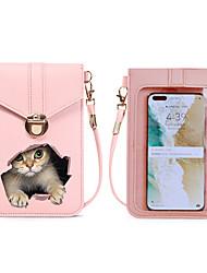 cheap -Women's Girls' Kids Bags PU Leather Mobile Phone Bag Messenger Bag Cat 3D Print Daily Going out Traveling Handbags MessengerBag Wine Black Blushing Pink Dusty Rose