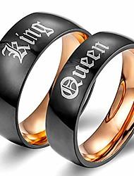 cheap -couple ring king queen titanium steel black matte promise wedding band,rose gold men
