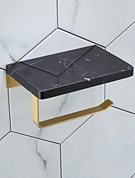 cheap -Marble Tissue Holder Household Brushed Brass Toilet Roll Holder Wall-mounted Mobile Phone Rack