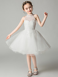 cheap -Princess Knee Length Wedding / Event / Party Flower Girl Dresses - Tulle Sleeveless Halter Neck with Beading / Appliques / Butterfly