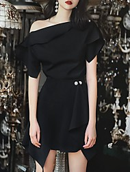 cheap -A-Line Little Black Dress Elegant Wedding Guest Cocktail Party Dress One Shoulder Short Sleeve Asymmetrical Cotton with Buttons Overskirt 2021