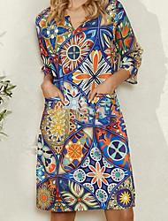 cheap -Women's A Line Dress Knee Length Dress Rainbow 3/4 Length Sleeve Print Tie Dye Print Summer V Neck Elegant 2021 S M L XL XXL 3XL