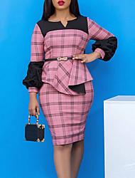 cheap -Women's Plus Size Dress Shift Dress Knee Length Dress Long Sleeve Plaid Print Casual Spring &  Fall Blushing Pink L XL XXL 3XL