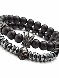 "cheap -8mm Charm Beads Bracelets for Men with Black Onxy Stone King Crown Skull Handmade Jewelry, 7.5"" Mens Bracelet"