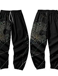 cheap -Men's Casual / Sporty Athleisure Daily Sports Jogger Pants Sweatpants Pants Spider web Full Length Elastic Waist 3D Print Black