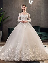 cheap -Princess Ball Gown Wedding Dresses Jewel Neck Chapel Train Lace Tulle Long Sleeve Formal Romantic Luxurious with Pleats Appliques 2021