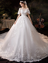 cheap -Princess Ball Gown Wedding Dresses Jewel Neck Chapel Train Lace Tulle Short Sleeve Formal Romantic Luxurious Sparkle & Shine with Beading Appliques 2021