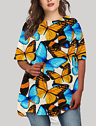 cheap -Women's Plus Size Graphic Animal Print Casual Half Sleeve Fall Short Mini Dress T Shirt Dress Tee Dress Blue