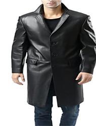 cheap -men's classic new zealand lambskin long walking coat black big and tall