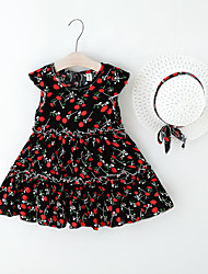 cheap -Kids Little Girls' Dress Floral Print Black Red Knee-length Sleeveless Regular Sweet Dresses Summer Loose 2-6 Years