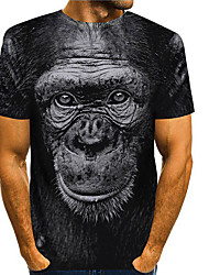 cheap -Men's Tees T shirt 3D Print Graphic Prints Orangutan Animal Print Short Sleeve Daily Tops Basic Casual Black
