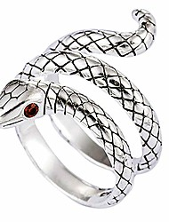 cheap -kelistom vintage silver animal open ring, adjustable frog, snake, dragon, cat finger ring for women men teen girls boys fashion party jewelry (snake)