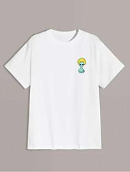 cheap -Men's T shirt Hot Stamping Alien Animal Print Short Sleeve Daily Tops 100% Cotton Basic Fashion Classic White