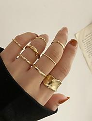 cheap -Band Ring Geometrical Gold Alloy Stylish Simple European 8pcs Adjustable / Adjustable Ring