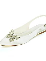 cheap -Women's Wedding Shoes Flat Heel Pointed Toe Wedding Sandals Satin Rhinestone Solid Colored White Black Purple