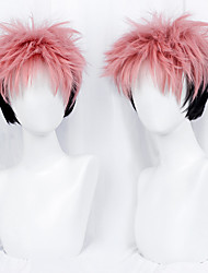 cheap -Cosplay Cosplay Cosplay Wigs Men's Side bangs 35 inch Curly Black Pink Adults' Anime Wig
