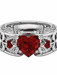 cheap -m·kvfa Valentine's Day Engagement Wedding Ring Heart Shaped Square Zircon Couple Ring Alloy Jewelry, Best Gift for Mens Womens