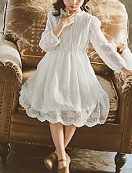 cheap -Kids Little Girls' Dress Flower Lace White Lace Knee-length Long Sleeve Sweet Dresses Children's Day Summer Regular Fit Baby