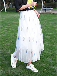 cheap -Women's Daily Elegant Skirts Graphic Embroidered White