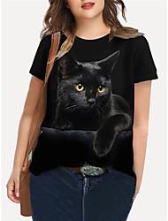 cheap -Women's Plus Size Tops T shirt Print Cat Graphic Animal Large Size Crewneck Short Sleeve Basic Big Size XL XXL 3XL 4XL 5XL Black
