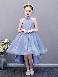 cheap -Princess Asymmetrical Wedding / Event / Party Flower Girl Dresses - Tulle Sleeveless Halter Neck with Beading / Appliques / Solid
