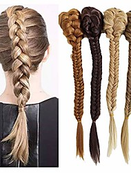 cheap -20inch long synthetic fishtail braids drawstring rope with claw clip ponytail extension (f22/10)