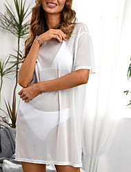 cheap -Women's Swimsuit Cover Up Swim Dress Swimsuit Cut Out Lace Slim Solid Color Color Block White Swimwear Camisole Blouse V Wire Bathing Suits Fashion Sexy / Padless