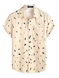 cheap -Men's Shirt Floral Short Sleeve Daily Tops 100% Cotton Basic Boho Khaki