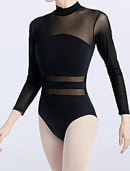 cheap -Ballet Leotard / Onesie Split Joint Women's Training Performance Long Sleeve Natural Chinlon Mesh Elastane