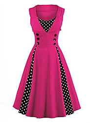 cheap -women's plus size 50s vintage classic polka dot swing pinup rockabilly dress rosered 5x