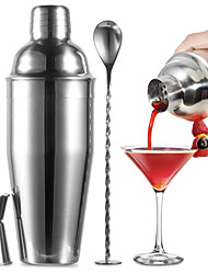 cheap -Cocktail Shaker Bartender Set 3 Pieces 750ml 25oz Bar Tools Kit Accessories Stainless Steel Martini Shaker with Built in Strainer Mixing Spoon Measuring Jigger Recipes Booklet