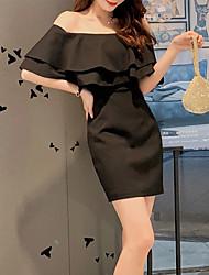 cheap -Sheath / Column Minimalist Elegant Holiday Cocktail Party Dress Off Shoulder Short Sleeve Short / Mini Spandex with Ruffles 2021
