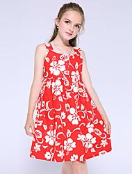 cheap -Kids Little Girls' Dress Flower Holiday Print Red Knee-length Sleeveless Flower Dresses New Year Summer Regular Fit 5-13 Years