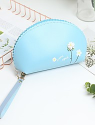 cheap -Women's Bags PU Leather Cosmetic Bag Zipper Solid Color Daily Outdoor Handbags Black Blue Blushing Pink Light Gray